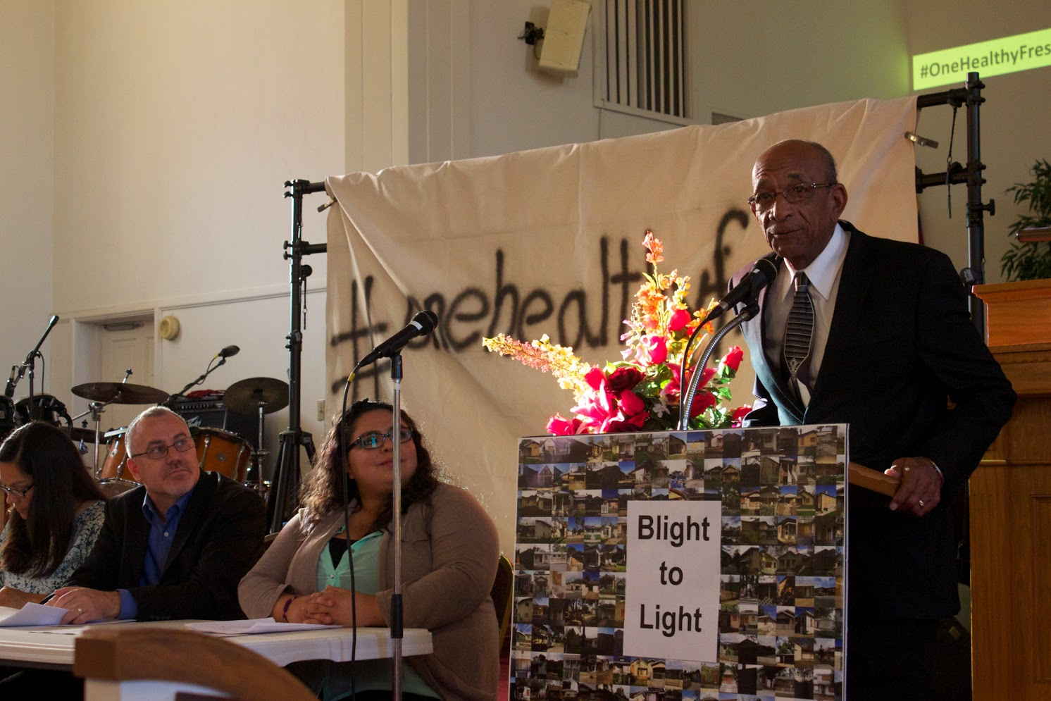 Pastor Richard Daniels addresses the crowd at last night's Blight to Light meeting. All pictures by Colby Tippett