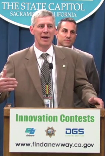 Caltrans Director Malcolm Dougherty announces Innovation Prizes for public ideas on streamlining, safety, or other ways to improve government. Assemblymember Mike Gatto is behind him.