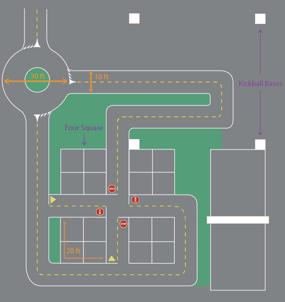 The playground's flexible design can be used for a variety of games, including kickball (white squares), foursquare, circle games, and traffic games.