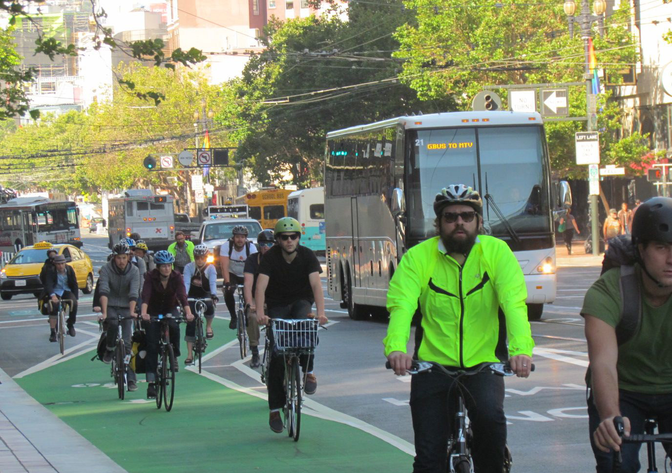San Francisco has witnessed a rapid growth in bike commuting under SFBC's watch. Image: Market Street, SF. By Melanie Curry/Streetsblog