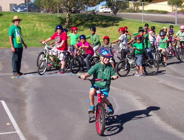 Even before the new playground, kids learned to ride bikes as part of the Oceano curriculum. Photo by Jim DeCecco.