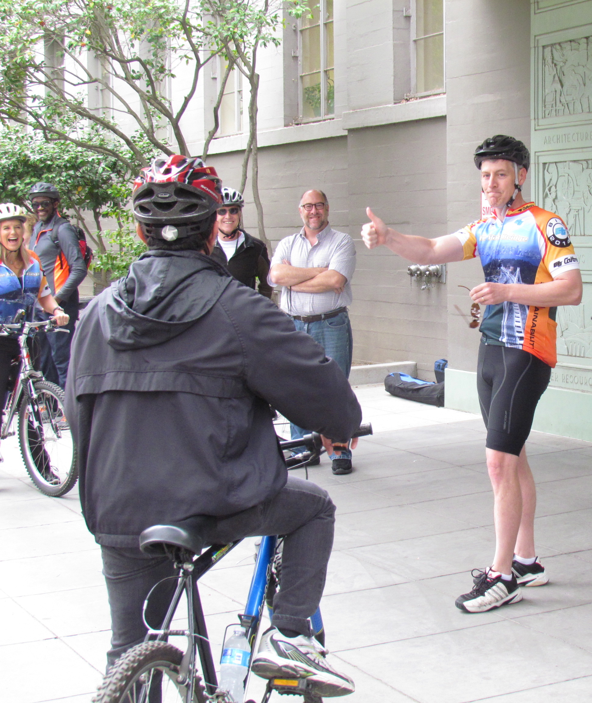 Caltrans Director Malcolm Dougherty prepares to lead the Director's Bike Ride last May. Photo: Melanie Curry/Streetsblog