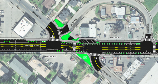 Modesto's road diet on Paradise Road includes protected bike lanes and bulbouts at intersections. Image courtesy city of Modesto.