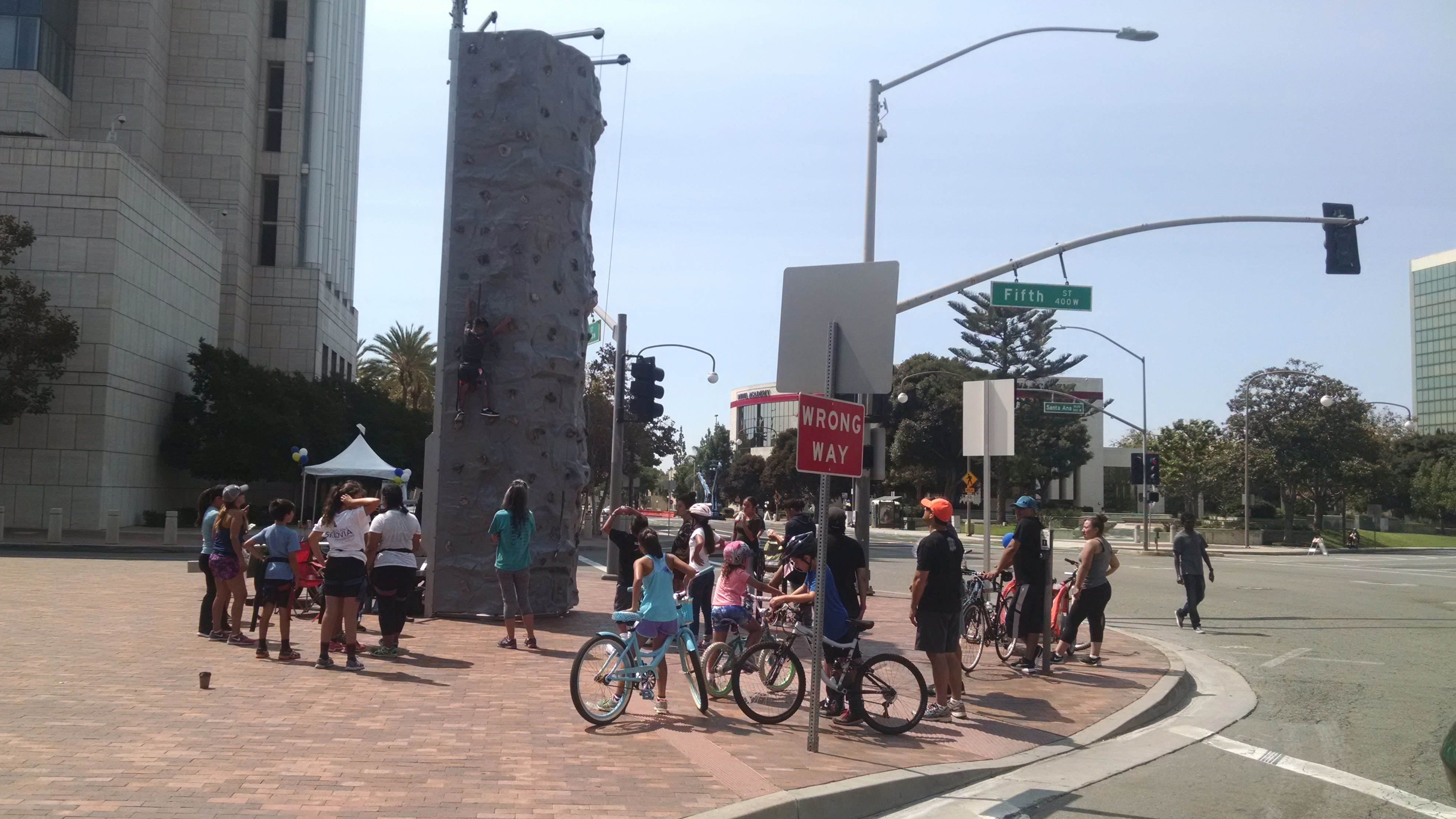 Rockwall at the corner of Civic Center Drive and Flower Street during this year's 5k/Ciclovia. Photo by Kristopher Fortin.