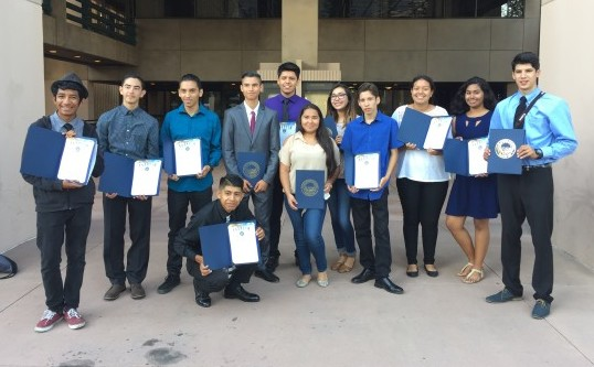 Anaheim High School students who participated in the Active Transportation Leadership Program