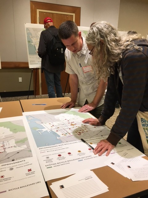 Residents discuss the Berkeley Bike Plan at a recent open house. Image: Melanie Curry/Streetsblog