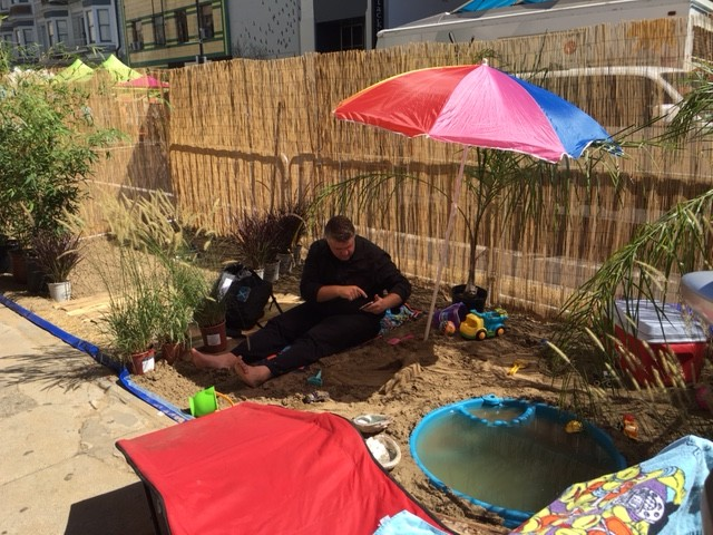 In Sacramento, the local chapter of the American Society of Landscape Architects organized a whole block full of parklets, including a beach.