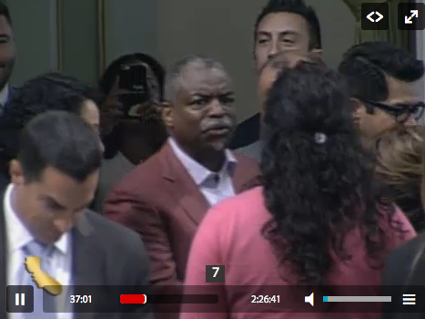 LeVar Burton visited the State Assembly on its last day and was mobbed by Assemblymembers wanting to pose with him for pictures. Image: Screengrab from The California Channel