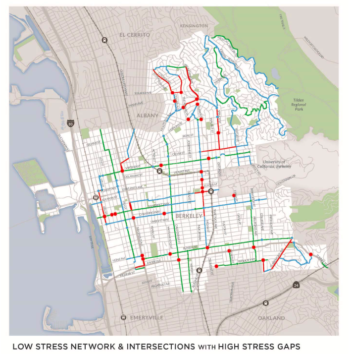 Expanding the ATP by $10M with cap-and-trade revenues could help cities like Berkeley fix gaps in their bike network, making biking and walking safer for everyone. Image from Berkeley Draft Bicycle Plan Update